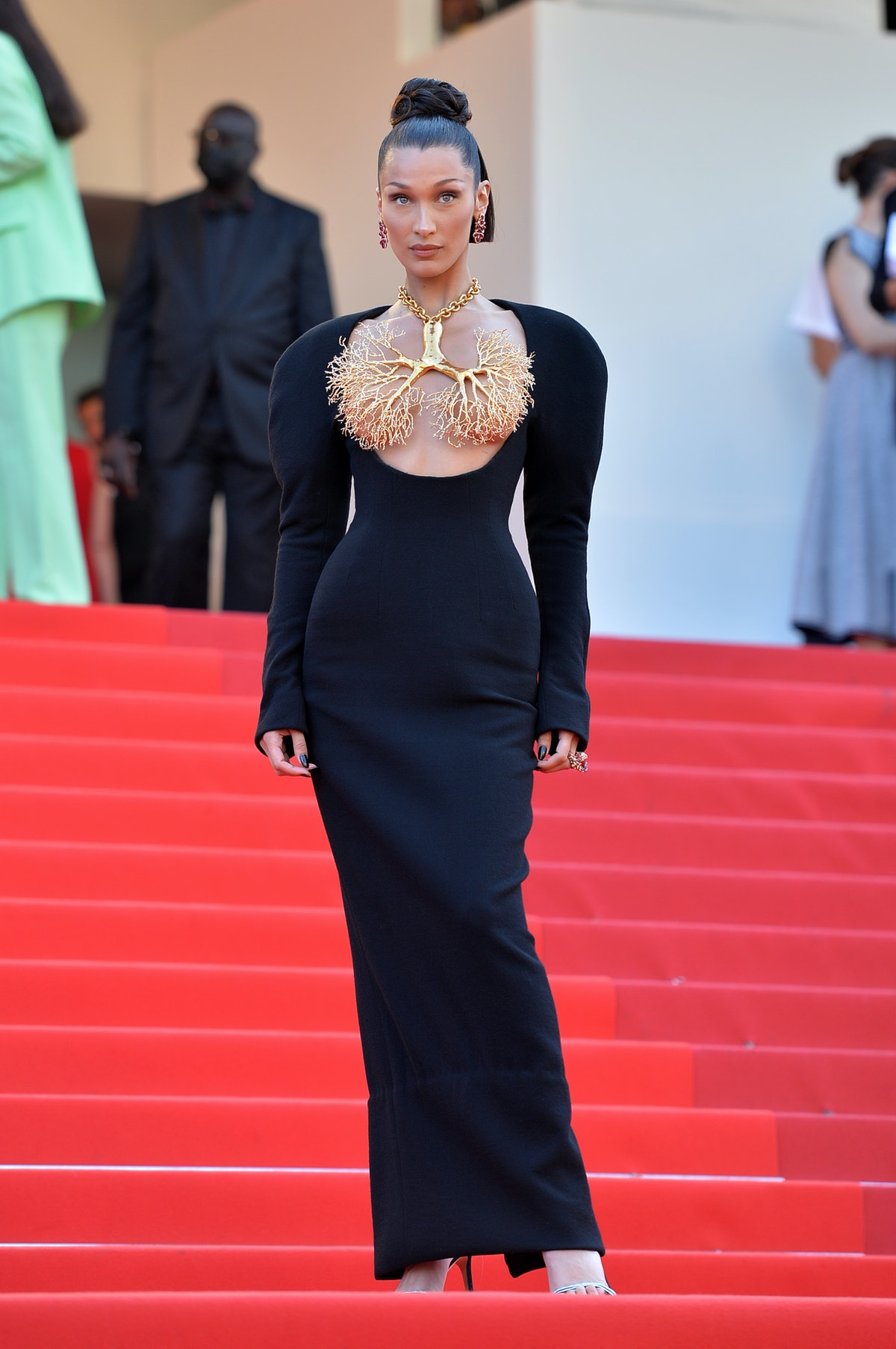 """11 July 2021, France, Cannes: Model Bella Hadid attends the screening of the film """"Tre Piani"""" during the 74th Annual Cannes Film Festival at Palais des Festivals. Photo: Stefanie Rex/dpa-Zentralbild/dpa (Photo by Stefanie Rex/picture alliance via Getty Images)"""