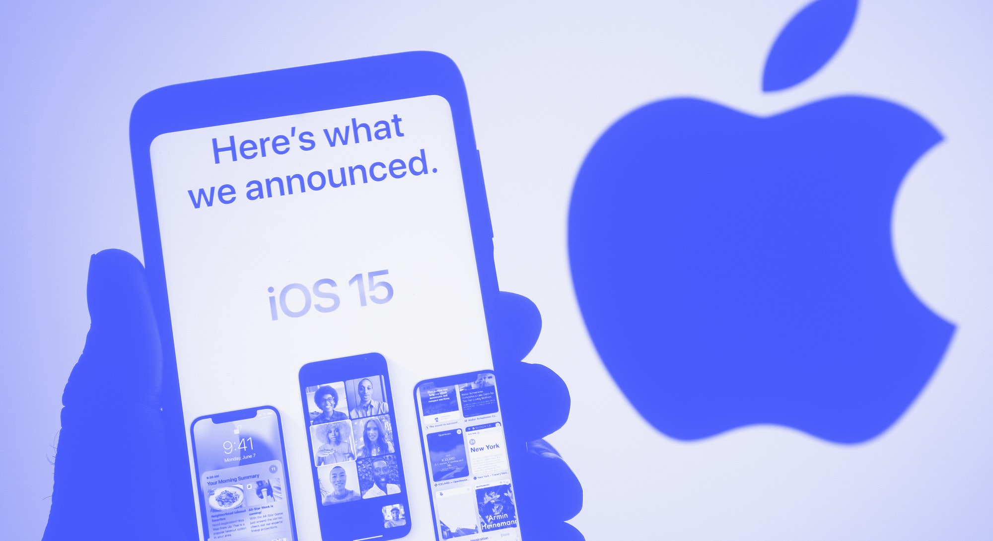 UKRAINE - 2021/06/07: In this photo illustration the iOS 15 logo on an Apple website seen displayed ...