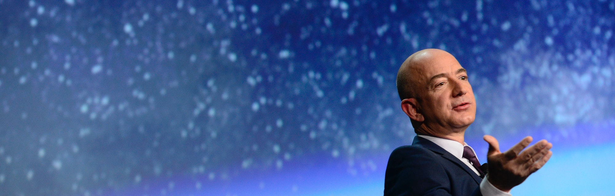 COLORADO SPRINGS, CO - APRIL 12: Founder of space company Blue Origin, Jeff Bezos, speaks about the ...