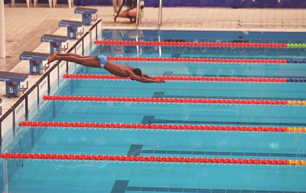 9 Sep 2000:  Eric Moussambani of Equatorial Guinea in action during the Mens 100m Freestyle Heats at...