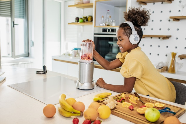 Fruit smoothies are an easy breakfast idea for kids to make.