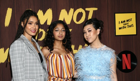 """WEST HOLLYWOOD, CALIFORNIA - FEBRUARY 25: Lee Rodriguez, Maitreyi Ramakrishnan and Ramona Young attend the Netflix's """"I Am Not Okay With This"""" Photocall at The London West Hollywood on February 25, 2020 in West Hollywood, California. (Photo by Tommaso Boddi/WireImage)"""