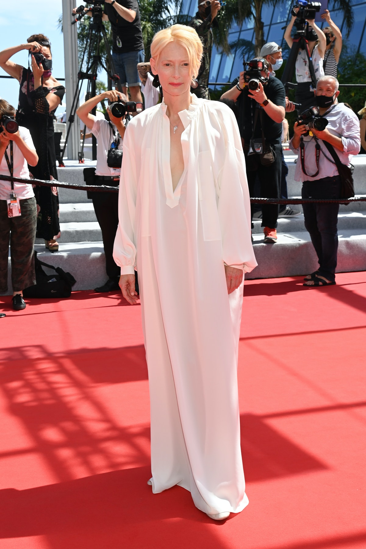 """CANNES, FRANCE - JULY 15: Tilda Swinton attends the """"Memoria"""" screening during the 74th annual Cannes Film Festival on July 15, 2021 in Cannes, France. (Photo by Pascal Le Segretain/Getty Images)"""