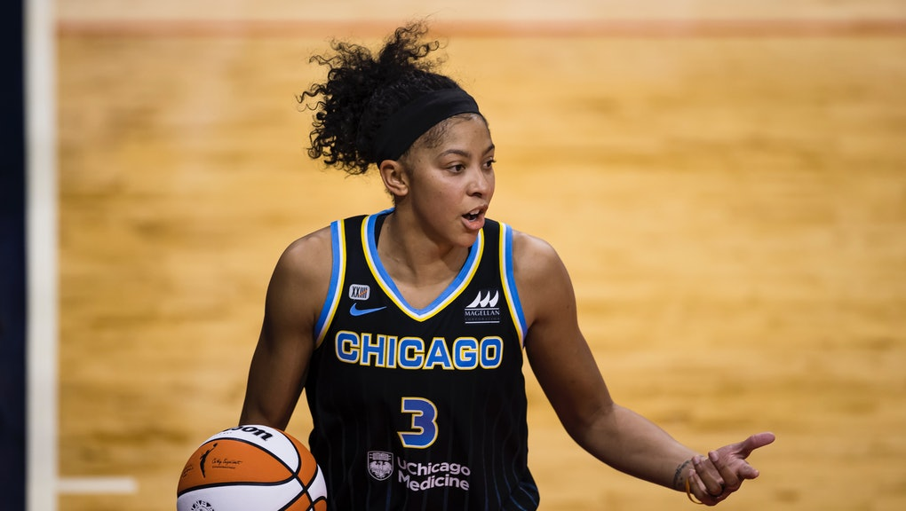 WASHINGTON, DC - MAY 15: Candace Parker #3 of the Chicago Sky reacts during the second half of the g...