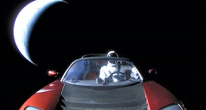 IN SPACE - FEBRUARY 8: In this handout photo provided by SpaceX, a Tesla roadster launched from the ...