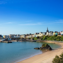 United Kingdom, Wales, Pembrokeshire, Tenby. Summer view of the town centre / downtown district, Ten...