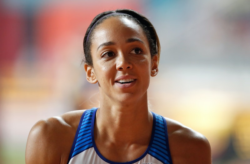 Great Britain's Katarina Johnson-Thompson competes in the Javelin Throw during the Women's Heptathlo...