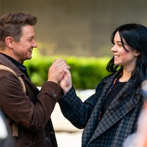 NEW YORK, NEW YORK - DECEMBER 06: Jeremy Renner (L) and Hailee Steinfeld are seen filming a scene for 'Hawkeye' in Midtown on December 06, 2020 in New York City. (Photo by Gotham/GC Images)