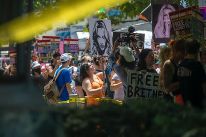 A crowd of about 150 people supporting Britney Spears  stood outside a courthouse, holding signs and chanting in Los Angeles, CA today. Britney Spears conservatorship case resumes after last months explosive testimony on Wednesday, July 14, 2021. A crowd of about 150 people supporting Britney Spears  stood outside a courthouse, holding signs and chanting.The singer's personal and financial affairs have been monitored by a judge since early 2008, when she exhibited bizarre public behavior. Spears recently told a judge she wants the conservatorship ended. She was not at this court house.
