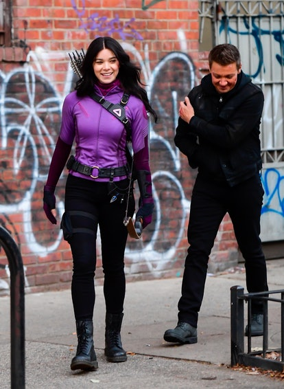 NEW YORK, NY - DECEMBER 08:  Hailee Steinfeld and Jeremy Renner seen on the set of 'Hawkeye' on the ...