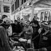 Alexandria Egypt, November 22, 2017: people attending the morning auction at the fish market in Alex...