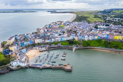 Aerial view of the colourful town of Tenby. (Photo by: HarrisDro/Loop Images/Universal Images Group ...