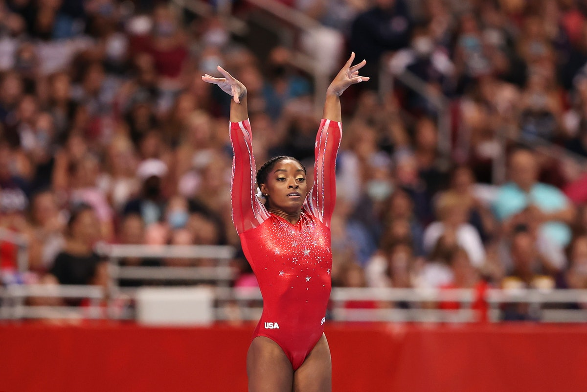 ST LOUIS, MISSOURI - JUNE 27: Simone Biles competes in the floor exercise during the Women's competition of the 2021 U.S. Gymnastics Olympic Trials at America's Center on June 27, 2021 in St Louis, Missouri. (Photo by Carmen Mandato/Getty Images)