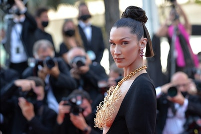 """11 July 2021, France, Cannes: Model Bella Hadid attends the screening of the film """"Tre Piani"""" during..."""