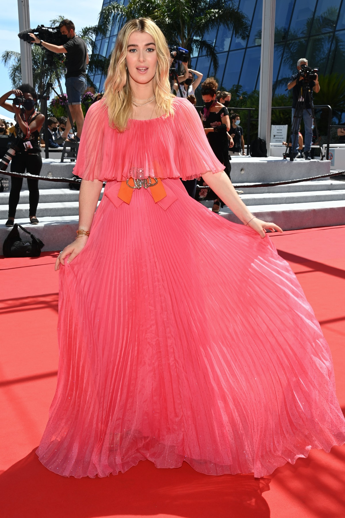 """CANNES, FRANCE - JULY 15: Honor Swinton Byrne attends the """"Memoria"""" screening during the 74th annual Cannes Film Festival on July 15, 2021 in Cannes, France. (Photo by Pascal Le Segretain/Getty Images)"""