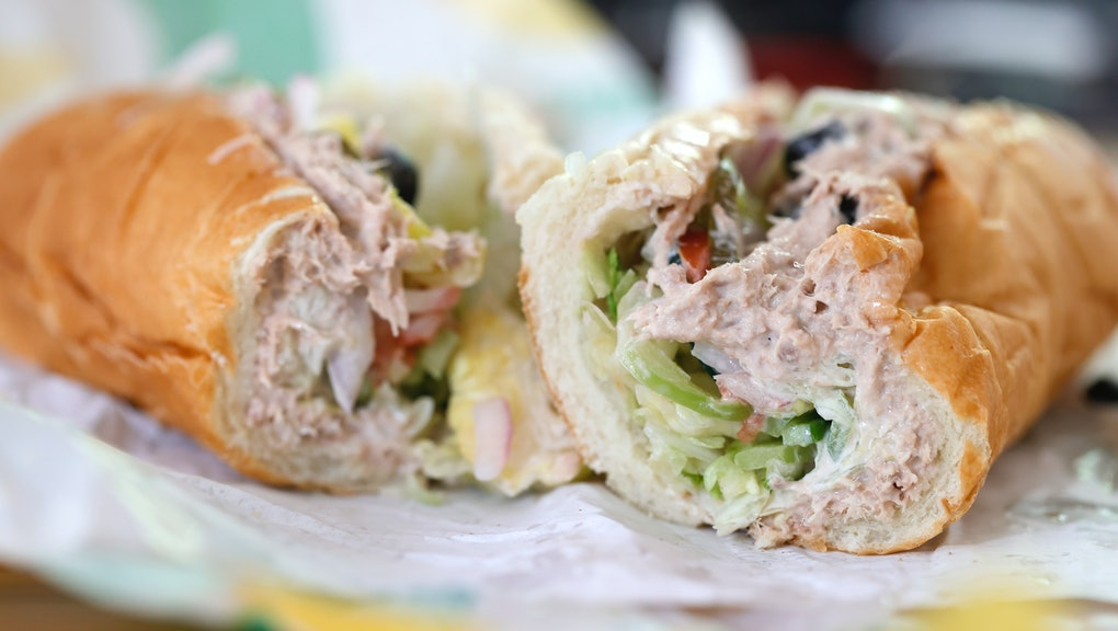 SAN ANSELMO, CALIFORNIA - JUNE 22: A tuna sandwich from Subway is displayed on June 22, 2021 in San ...