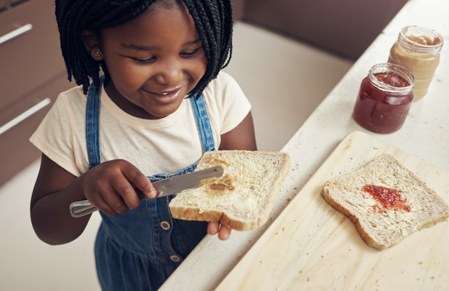 A PB&J is an easy breakfast idea for kids to make.