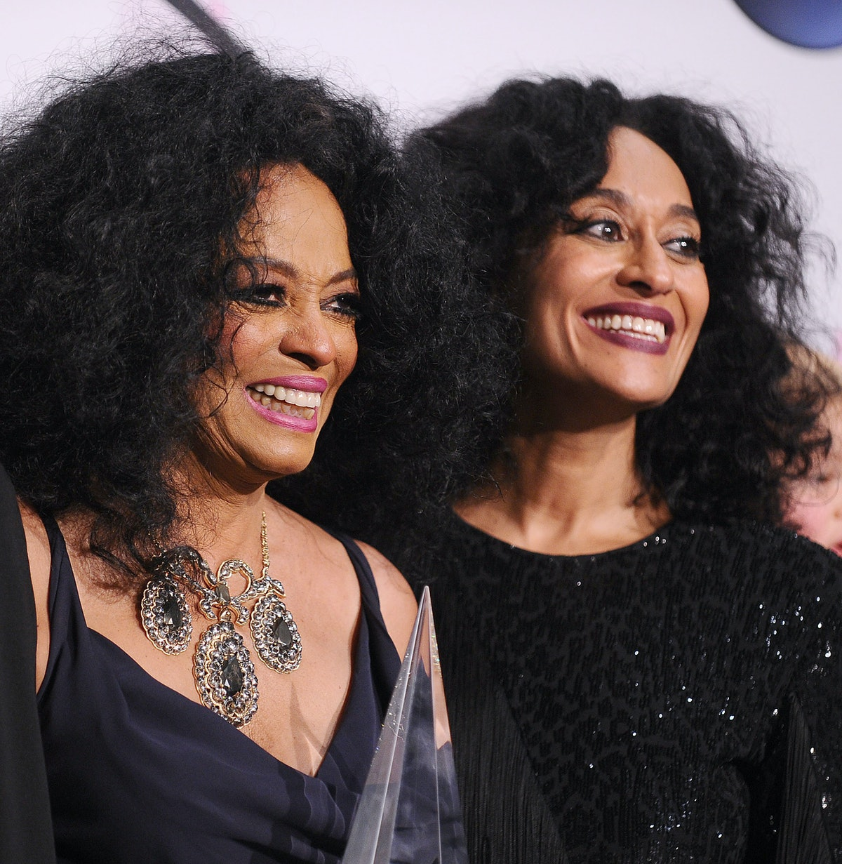 LOS ANGELES, CA - NOVEMBER 19:  Singer Diana Ross and actress Tracee Ellis Ross pose in the press ro...