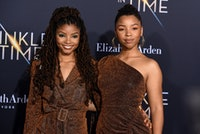 """LOS ANGELES, CA - FEBRUARY 26:  Halle Bailey and Chloe Bailey attend Premiere Of Disney's """"A Wrinkle In Time"""" - Arrivals on February 26, 2018 in Los Angeles, California.  (Photo by Presley Ann/Patrick McMullan via Getty Images)"""