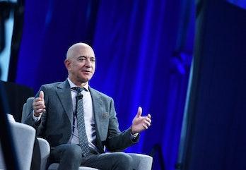 Blue Origin founder Jeff Bezos speaks after receiving the 2019 International Astronautical Federatio...