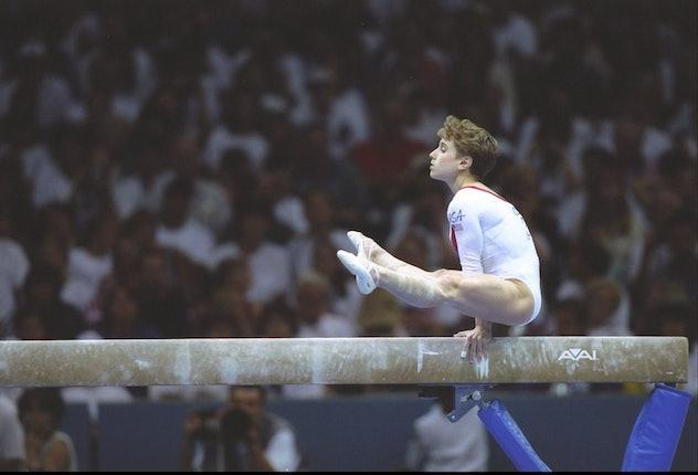 23 Jul 1996: Kerri Strug of the USA in action on the balance beam during the women''s gymnastics com...