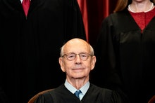 Associate Justice Stephen Breyer sits during a group photo of the Justices at the Supreme Court in W...