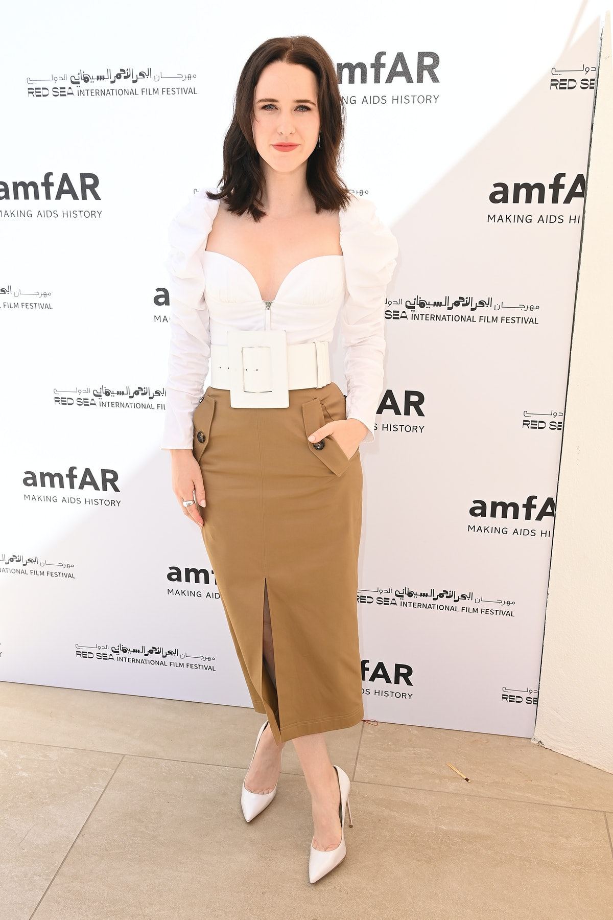 ANTIBES, FRANCE - JULY 15: Rachel Brosnahan attends celebration of Cinema, Pre-amfAR gala lunch hosted by the Red Sea International Film Festival during the 74th annual Cannes Film Festival on July 15, 2021 in Antibes, France. (Photo by Kate Green/Getty Images for The Red Sea International Film Festival)
