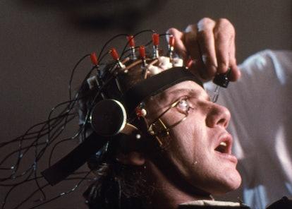 "Actor Malcolm McDowell on the set of ""Clockwork Orange""."