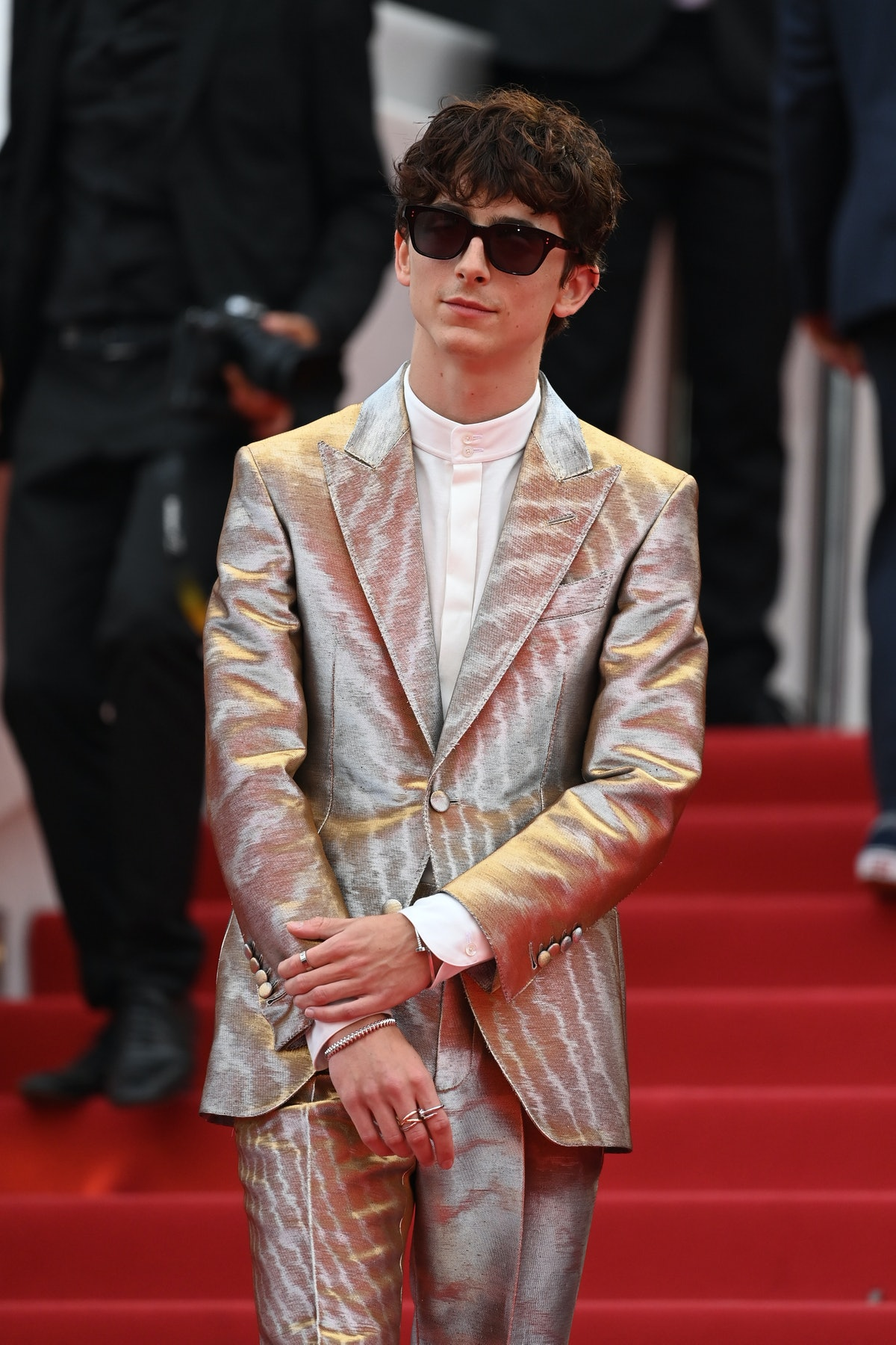 """CANNES, FRANCE - JULY 12: Timothée Chalamet attends the """"The French Dispatch"""" screening during the 74th annual Cannes Film Festival on July 12, 2021 in Cannes, France. (Photo by Kate Green/Getty Images)"""