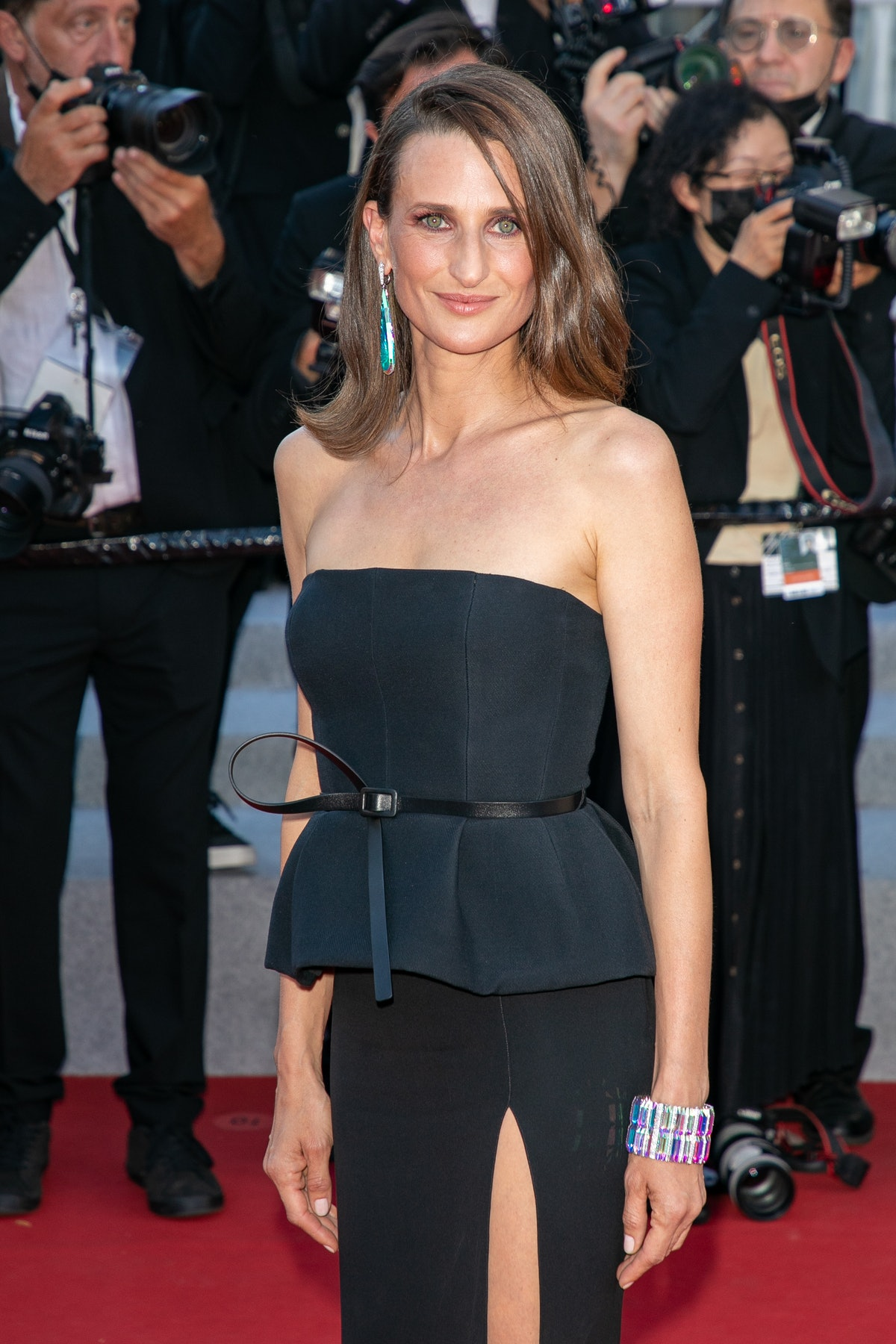 """CANNES, FRANCE - JULY 08: Actress Camille Cottin attends the """"Stillwater"""" screening during the 74th annual Cannes Film Festival on July 08, 2021 in Cannes, France. (Photo by Marc Piasecki/FilmMagic)"""