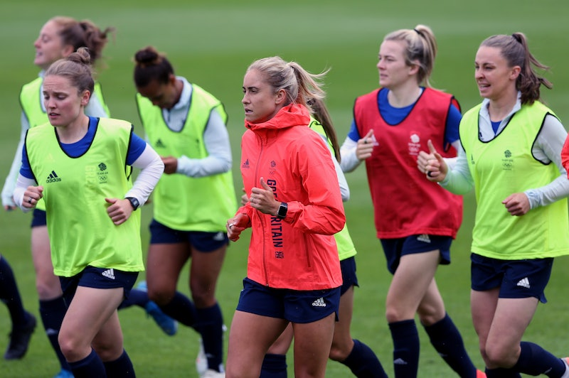 Team GB's Steph Houghton (centre) during a training session at Loughborough University, Loughborough. Picture date: Saturday June 19, 2021. (Photo by Barrington Coombs/PA Images via Getty Images)