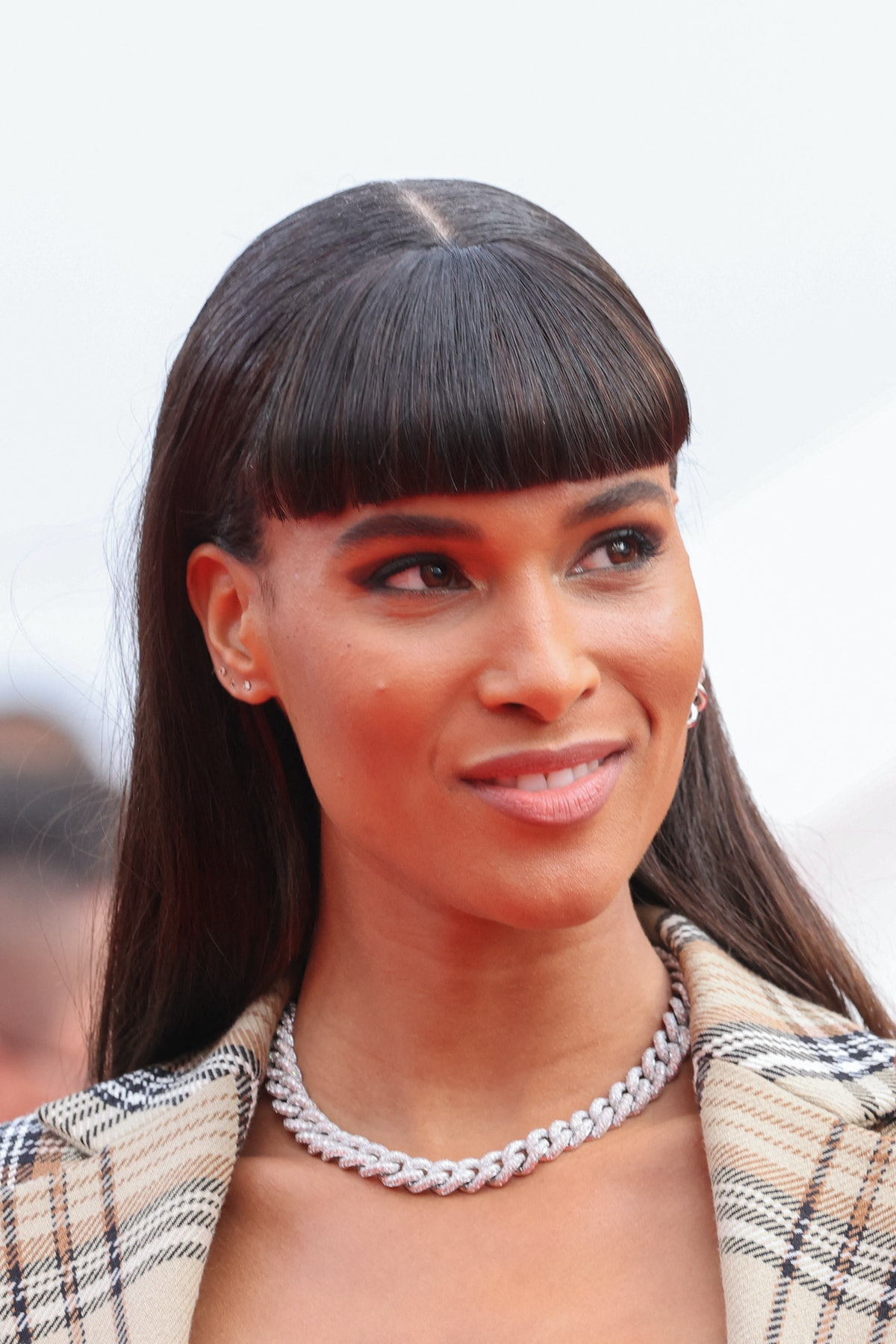 """French model Cindy Bruna arrives for the screening of the film """"Les Intranquilles (The Restless)"""" at the 74th edition of the Cannes Film Festival in Cannes, southern France, on July 16, 2021. (Photo by Valery HACHE / AFP) (Photo by VALERY HACHE/AFP via Getty Images)"""