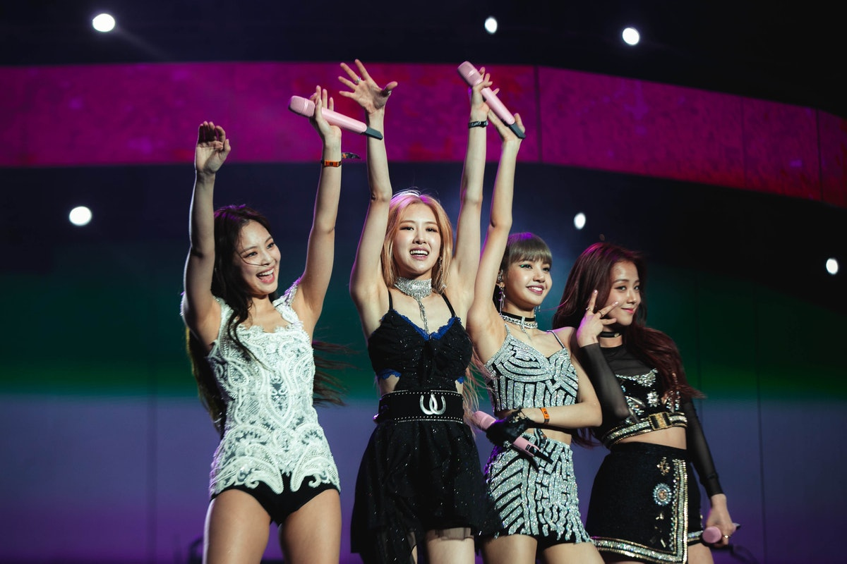 INDIO, CALIFORNIA - APRIL 12: (L-R) Jennie, Rose, Lisa and Jisoo of BLACKPINK perform onstage during...