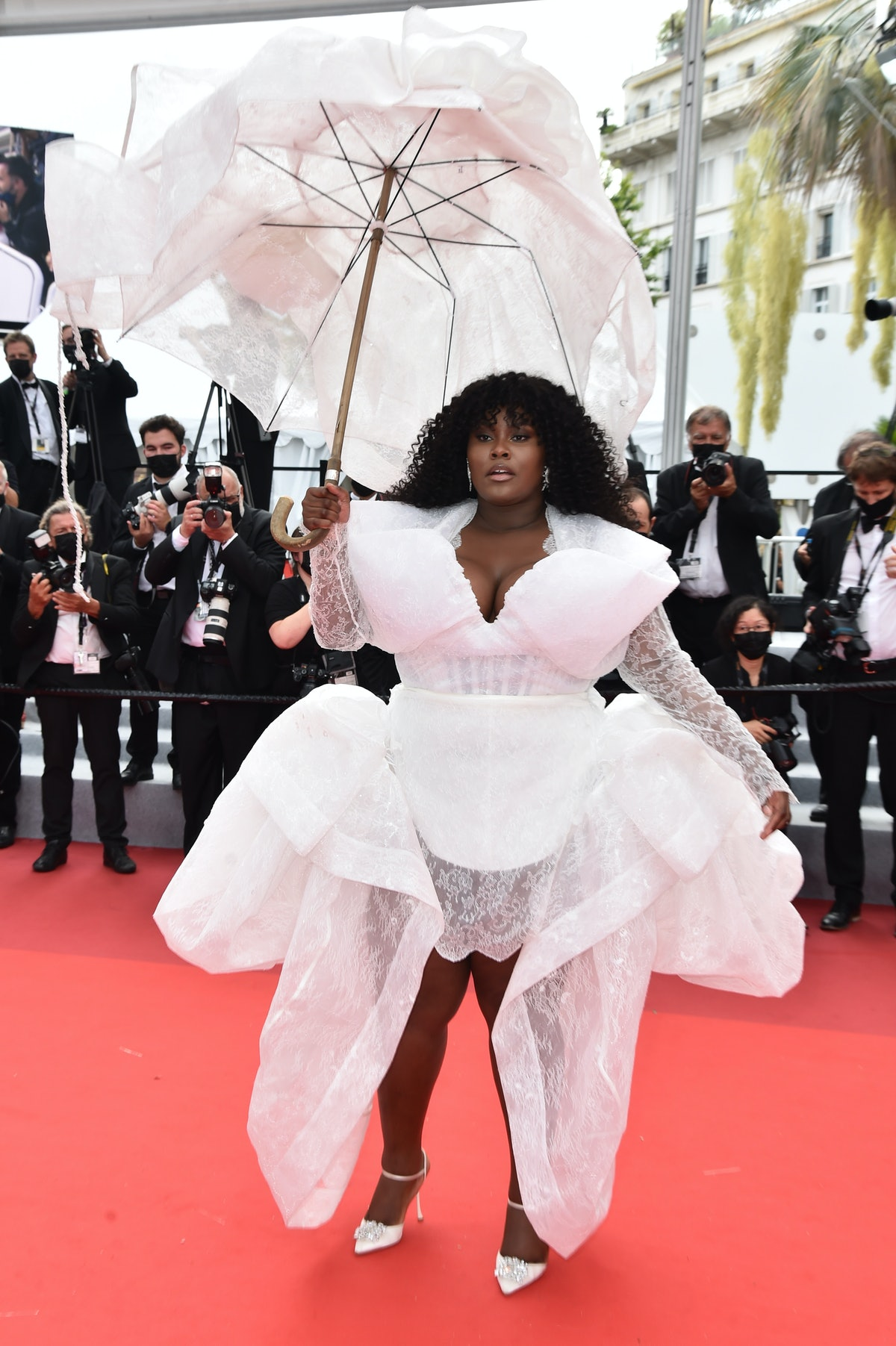 """CANNES, FRANCE - JULY 16: Yseult attends the """"Les Intranquilles (The Restless)"""" screening during the 74th annual Cannes Film Festival on July 16, 2021 in Cannes, France. (Photo by Dominique Charriau/WireImage)"""