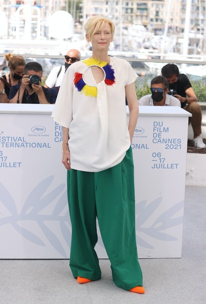 """CANNES, FRANCE - JULY 16: Tilda Swinton attends the """"Memoria"""" photocall during the 74th annual Canne..."""