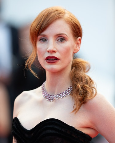 """CANNES, FRANCE - JULY 06: Jessica Chastain attends the """"Annette"""" screening and opening ceremony duri..."""