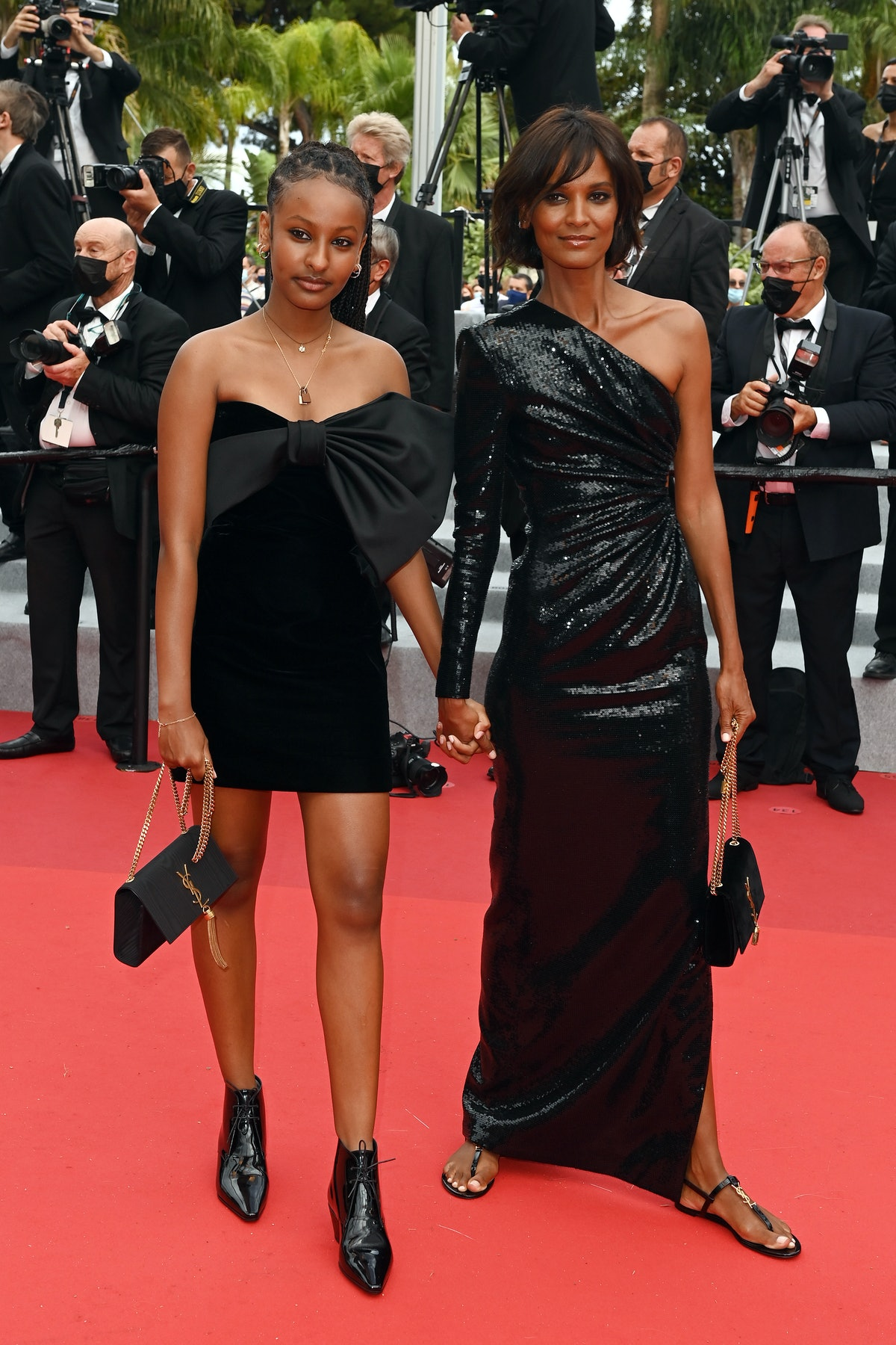 """CANNES, FRANCE - JULY 16: Raee Kebede and Liya Kebede attend the """"Les Intranquilles (The Restless)"""" screening during the 74th annual Cannes Film Festival on July 16, 2021 in Cannes, France. (Photo by Kate Green/Getty Images)"""