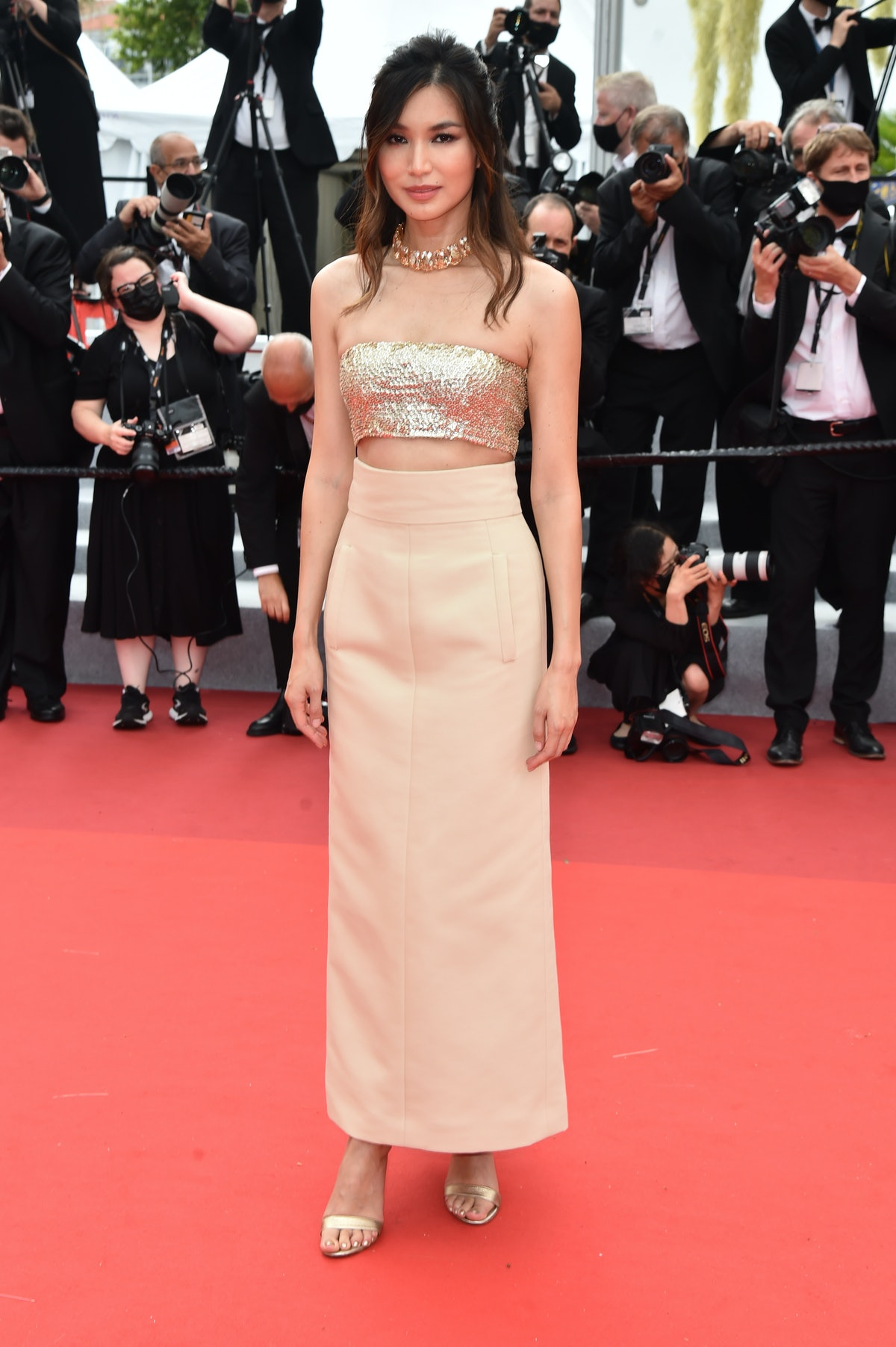"""CANNES, FRANCE - JULY 16: Gemma Chan attends the """"Les Intranquilles (The Restless)"""" screening during the 74th annual Cannes Film Festival on July 16, 2021 in Cannes, France. (Photo by Dominique Charriau/WireImage)"""