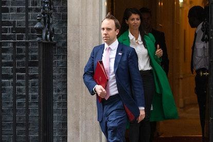 Health Secretary Matt Hancock leaves 10 Downing Street with aide Gina Coladangelo
