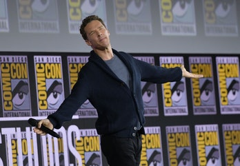 British actor Benedict Cumberbatch reacts on stage as the crowd sings Happy Birthday to him as he pr...
