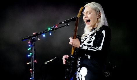 """MORRISON, COLORADO - SEPTEMBER 01: Phoebe Bridgers performs onstage during Day 1 of """"Red Rocks Unpaused"""" 3-Day Music Festival presented by Visible at Red Rocks Amphitheatre on September 01, 2020 in Morrison, Colorado. (Photo by Rich Fury/Getty Images for Visible)"""