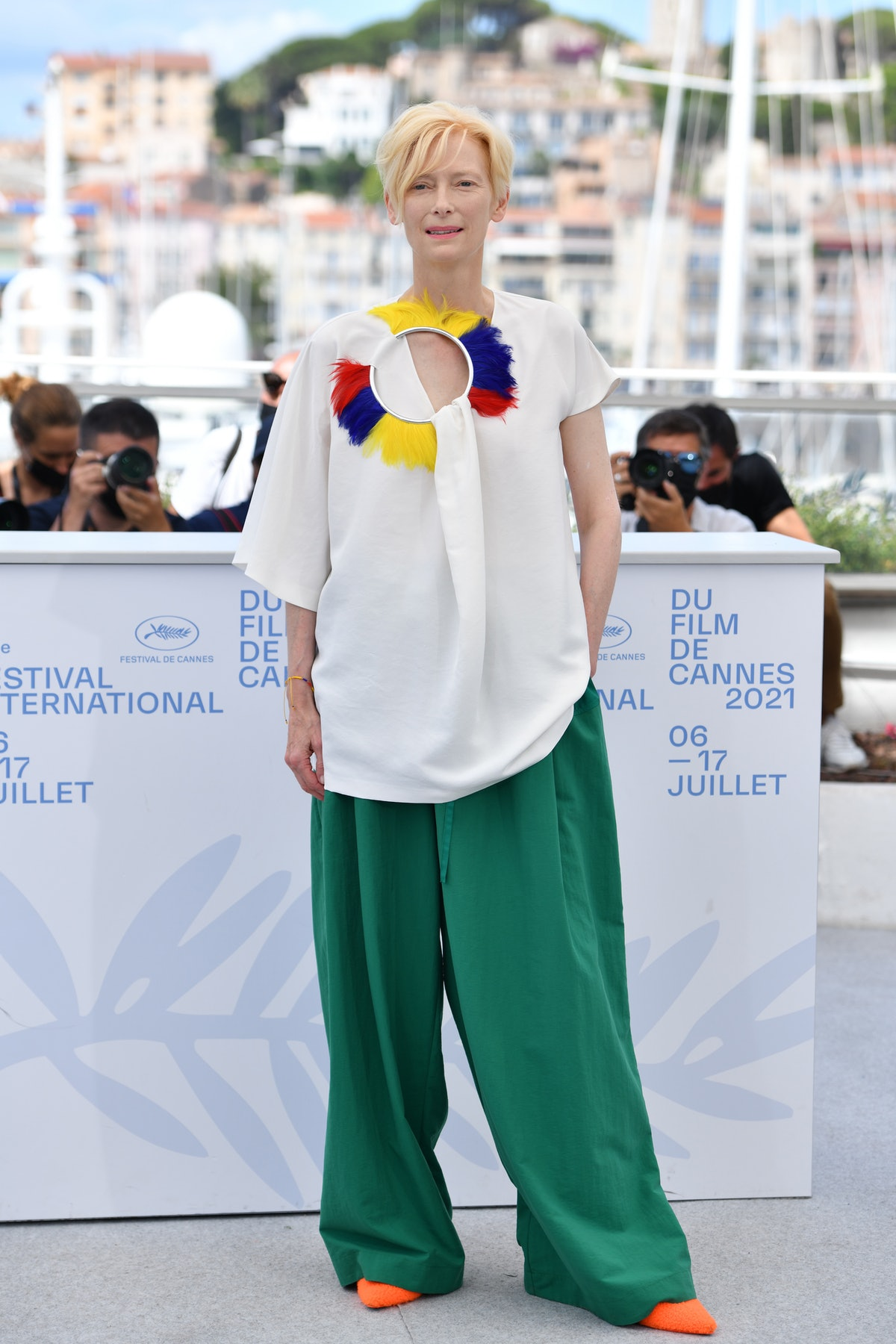"""CANNES, FRANCE - JULY 16: Tilda Swinton attends the """"Memoria"""" photocall during the 74th annual Cannes Film Festival on July 16, 2021 in Cannes, France. (Photo by Lionel Hahn/Getty Images)"""