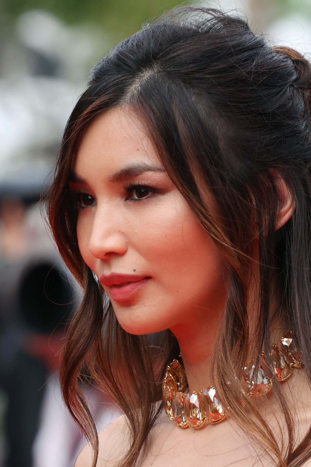 """British actress Gemma Chan arrives for the screening of the film """"Les Intranquilles (The Restless)"""" at the 74th edition of the Cannes Film Festival in Cannes, southern France, on July 16, 2021. (Photo by Valery HACHE / AFP) (Photo by VALERY HACHE/AFP via Getty Images)"""