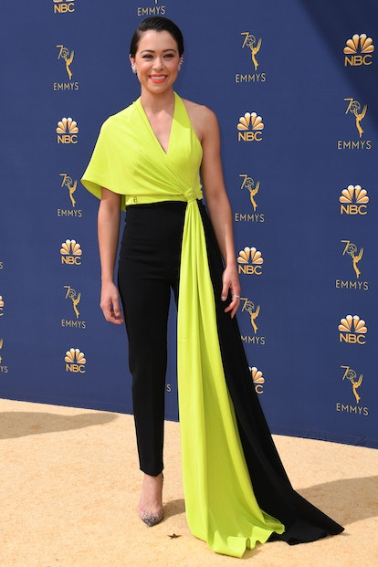 Lead actress in a drama series nominee Tatiana Maslany arrives for the 70th Emmy Awards at the Micro...