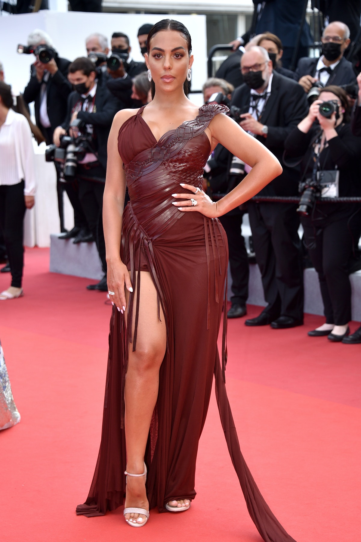 """CANNES, FRANCE - JULY 15: Georgina Rodriguez attends the """"France"""" screening during the 74th annual Cannes Film Festival on July 15, 2021 in Cannes, France. (Photo by Lionel Hahn/Getty Images)"""