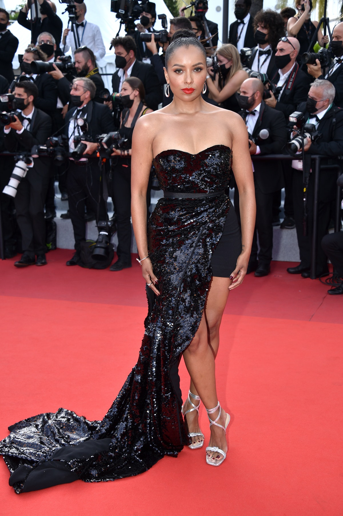 """CANNES, FRANCE - JULY 15: Kat Graham attends the """"France"""" screening during the 74th annual Cannes Film Festival on July 15, 2021 in Cannes, France. (Photo by Lionel Hahn/Getty Images)"""