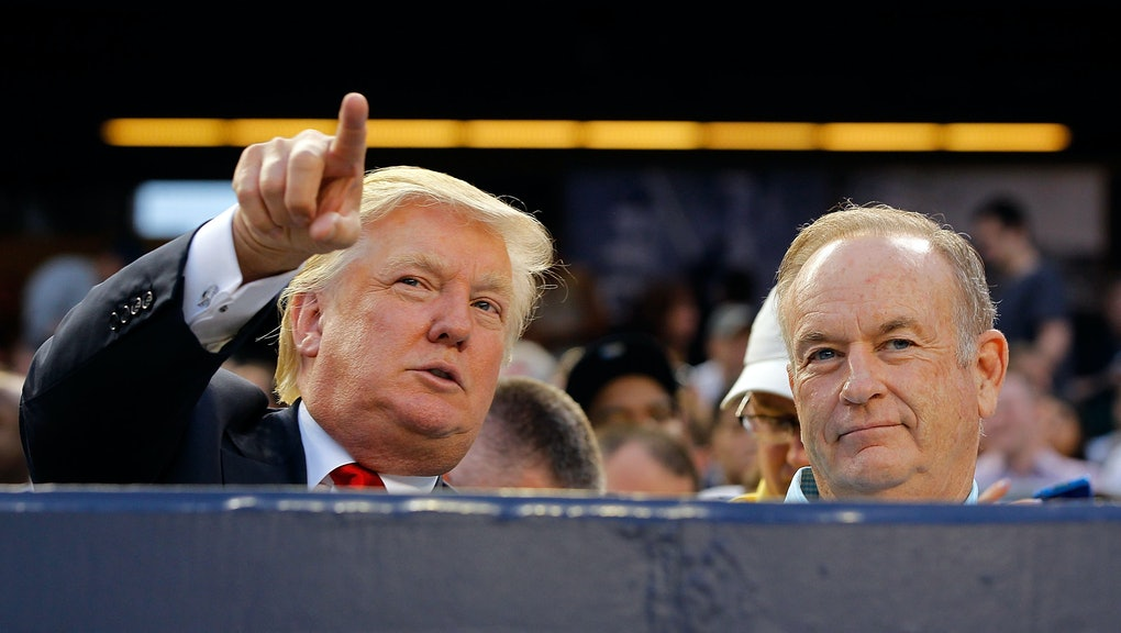 NEW YORK, NY - JULY 30:  Donald Trump (L) and television personality Bill O'Reilly attend the game b...