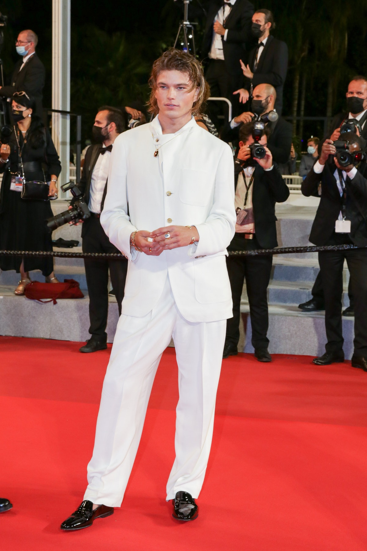 """CANNES, FRANCE - JULY 15: Jordan Barrett attends the """"Haut Et Fort (Casablanca Beats)"""" screening during the 74th annual Cannes Film Festival on July 15, 2021 in Cannes, France. (Photo by Stephane Cardinale - Corbis/Corbis via Getty Images)"""