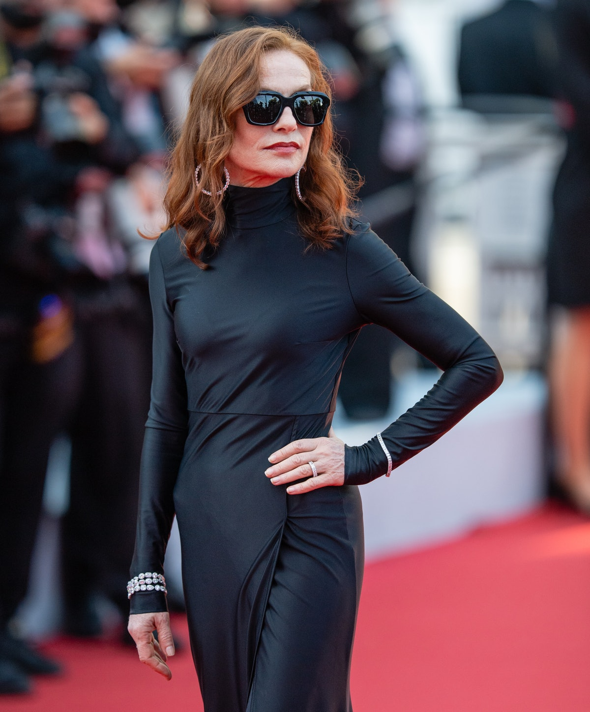 """CANNES, FRANCE - JULY 07: Isabelle Huppert attends the """"Tout S'est Bien Passe (Everything Went Fine)"""" screening during the 74th annual Cannes Film Festival on July 07, 2021 in Cannes, France. (Photo by Samir Hussein/WireImage)"""