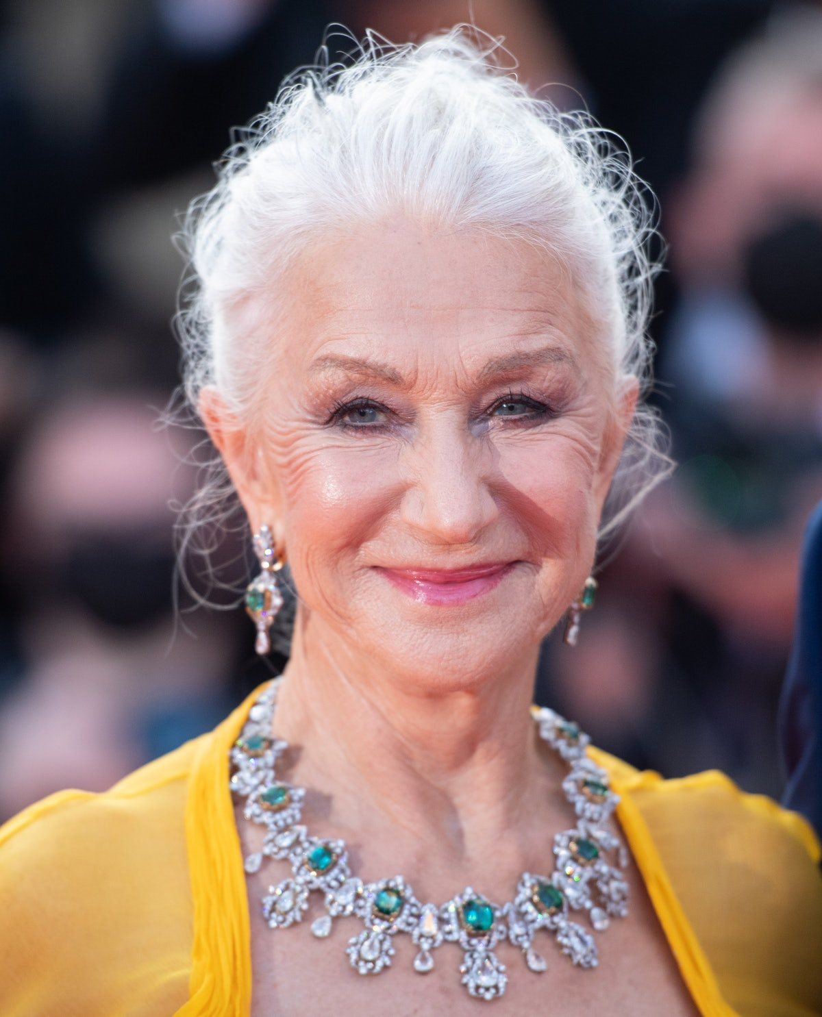 """CANNES, FRANCE - JULY 06: Helen Mirren attends the """"Annette"""" screening and opening ceremony during the 74th annual Cannes Film Festival on July 06, 2021 in Cannes, France. (Photo by Samir Hussein/WireImage)"""